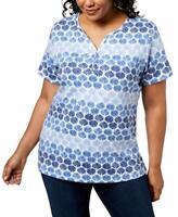 Karen Scott Women's Plus Size Printed Henley Neckline Top,