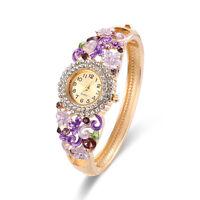 NEW Woman Fashion Bangle Crystal Flower Bracelet Analog Quartz Watch Wrist Watch