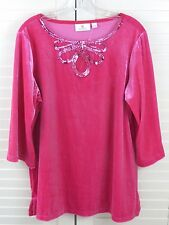 Quacker Factory L Large Tunic Top Pink V-Neck 3/4 Sleeves Embellished Velveteen
