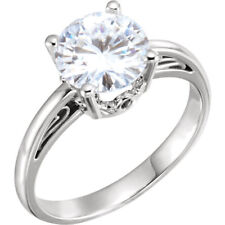 14K White 8mm Round Brilliant Cut Forever One™ Moissanite Engagement Ring NEW!