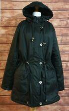 Ladies Winter Coat Size UK-14 Black Padded HOOD Pockets Zip Drawstrings Womens