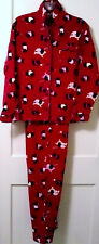 WOMENS DELICATES RED COTTON FLANNEL BLACK SCOTTISH TERRIER DOG PAJAMA SET SMALL