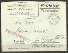 AUSTRIA. WW1. NAVY. 1915. COVER WITH CONTENTS. SMS TEGETTHOF. PRIVATELY PRINTED