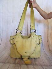Nest Anthropologie Yellow Leather Boho Shoulder Bag Hobo Handbag Buckle Flap