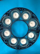 CANDLE HOLDER-8 VOTIVE CANDLES-CAST IRON&GLASS-ADD FLOWERS IN CENTER PC-OPENS UP