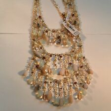 CAROLEE NECKLACE Pearl pink opal Crystal 3 row GOLD tone $150.00 VALUE NEW w TAG