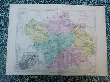 Carte géographique couleur 19°:  L'AUBE  avec plan de TROYES