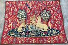 16686 Vintage French Pictorial Tapestry, Lady with Unicorn Authentic Style 3x4ft