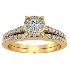 14k Yellow Gold Finish 1.86 ct Round Cut Diamond Engagement Band Bridal Ring Set