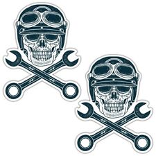 SKULL AND CROSS SPANNERS LAMINATED STICKERS Biker Motorcycle Hot Rod Chopper
