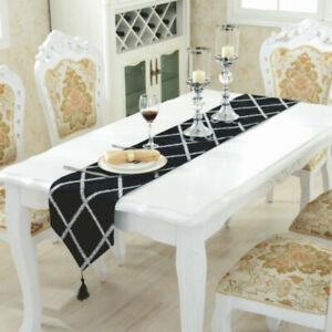 Velvet Table Runner Luxury Sequin Rectangular Tablecloth Flag Tassel Ornament
