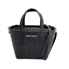 AUTH JIMMY CHOO MINISARA/EMG 153 BLACK star emboss 2WAY shoulder mini-tote bag