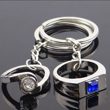 New 2pcs Bands Couple Rings Key Ring Keyfob Couples Romantic Keychain Lover Gift