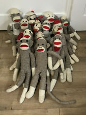 Lot of 14 Red Heel Sock Monkeys Stuffed Animals Handmade Rockford Vintage Retro