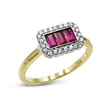 Ruby and Diamond 18ct Gold Ladies Cluster Ring New
