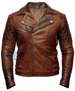 Mens Biker Motorcycle Vintage Brown Distressed Classic Diamond Leather Jacket-