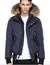 Mackage 100% Authentic HARVEY Navy DOWN BOMBER JACKET with FUR HOOD Size 44