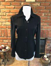 Vintage BEBE San Francisco USA sz 4 Thick Black Long Sleeve Button Shirt Top