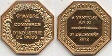 Jeton médaille Chambre de commerce et D'industrie de Paris 31 décembre 2012