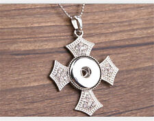 Fits Ginger Snap Ginger Snaps Pendant Rhinestone Cross Necklace 18mm Button