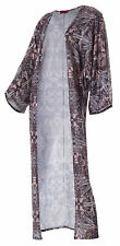 Sale-Maxi Floral Print Cardigan-Longline Open Front Coverup-Pinks/Greys-8-10