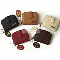 NEW Ladies Quality Compact LEATHER Purse Wallet in 6 Fashion Colours Handy Size