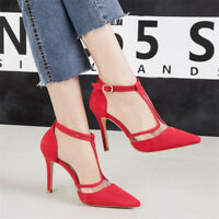 Fashion Womens T-strap High Heels Pointed Toe Stiletto Casual Ankle Buckle Shoes