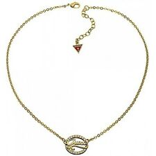 Pendant & Chain*Gift Boxed*Brand New Guess Gold Logo Link Zirconia Crystal