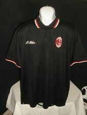 OFFICAL PRODUCT A.C. MILAN ACM 1899 BLACK MOISTURE WICKING S/S POLO SHIRT SZ. XL