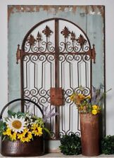 Distressed Vintage French Country Wood Metal Garden Gate Arch Window Wall Decor