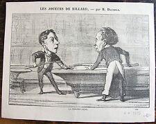 DAUMIER, LITHOGRAPHIE ORIGINALE, LES JOUEURS DE BILLARD, LA PREMIERE LECON