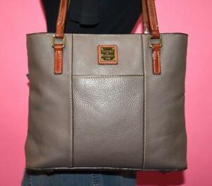 DOONEY & BOURKE LEXINGTON Grey Pebbled Leather Shoulder Tote Purse Bag