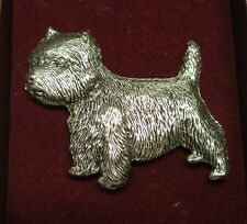 West Highland Terrier Brooch Silver Plated Signed Baileys