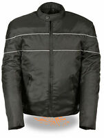 Mens Black Nylon Vented Scooter Jacket, with Reflective Piping