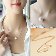 Womens Single Pearls Bib Choker Statement Collar Chain Necklace Pendant Jewelry