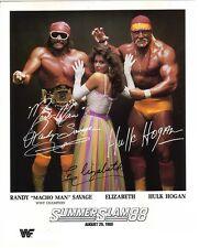 Hulk Hogan Randy Savage & Elizabeth PP Signed Autograph Hologram WWF Wrestling