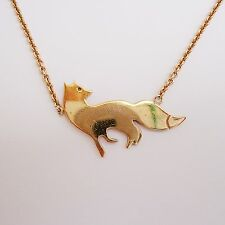 Gilded 925 Sterling Silver London - FL - Hallmarked Fox Pendant/Necklace & Chain