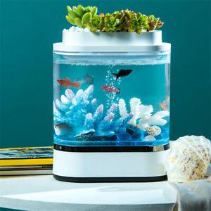 Geometry Mini Lazy Fish Tank USB Charging Self-cleaning Aquarium with 7 Colors