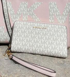 Michael Kors Jet Set Phone Case Wallet Wristlet Vanilla Signature Powder Blush