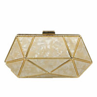 Women Acrylic Clutch Evening Bags Ladies Metal Clutches Chain Shoulder Handbag