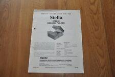 Stella ST8001 Record Player Genuine Service Sheet Manual