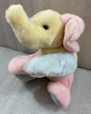 "Pastel colors ELEPHANT Baby Aurora beanbag plush 13""L lying down...Easter"