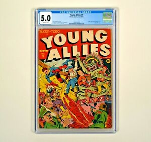 Young Allies #9 CGC 5.0 [1943] Classic Hitler Tojo Mussolini WWII Cvr Story RARE