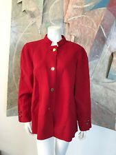 Vintage Bill Blass Red Wool Gold Buttons Womens Blazer Jacket SZ 10