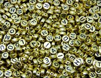 7mm Metallic Gold Round Letter Coin Beads Jewellery Kids Craft Beading UK ML