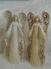 2 Vintage Tall Plaster ChalkWare Wmg By Jaimz Angel CandleStick Holder Figurines