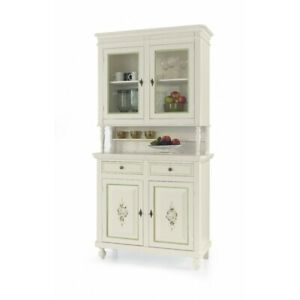 Glass Cabinet 2 Doors (Base + Lifting Up) White Decorated