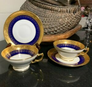 """2 Minton for Tiffany & Co. Cobalt & Gold Gilt 2 5/8"""" Footed Cups & Saucers 1920"""