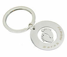 Baby Foot Feet Personalised Keyring Custom Engraved Text Anniversary Key Gift UK