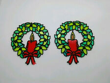 Vtg 2 Christmas Wreath Suncatcher Stained Glass Decoration Candle Bow Plastic